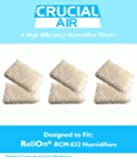 6-Pack ReliOn WF813 Humidifier Wicking Filters Designed To Fit ReliOn RCM832 (RCM-832) RCM-832N, DH-832 and DH-830 Humidifers; Compare To Part # WF813; Designed & Engineered By Crucial Air