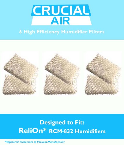 6-Pack ReliOn WF813 Humidifier Wicking Filters Designed To Fit ReliOn RCM832 (RCM-832) RCM-832N, DH-832 and DH-830 Humidifers; Compare To Part # WF813; Designed & Engineered By Crucial Air - 1