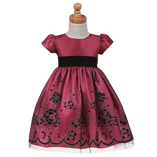 Lito Toddler Girls Fuchsia Floral Flocked Tulle Christmas Dress 2T front-825211