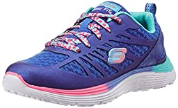 Skechers Kids Valeris Firelite Performance Jogger (Little Kid/Big Kid), Blue/Neon Pink, 2 M US Little Kid