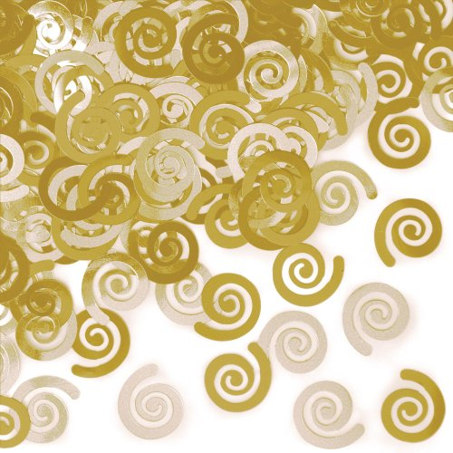 Creative Converting 21442 Metallic Confetti Swirls, Mimosa Yellow