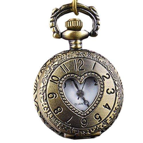 Finejo Heart Hollow Vintage Style Bronze Steampunk Quartz Pocket Watch [Apparel]