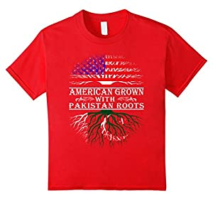 Kids American Grown With Pakistan Roots Proud T-Shirt For Women M 8 Red