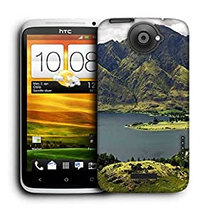Snoogg Green Mountains Printed Protective Phone Back Case Cover For HTC One X