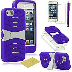 Fulland Deluxe Bling DIAMOND KICKSTAND HEAVY DUTY DEFENDER HARD SOFT COMBO CASE COVER FOR IPHONE 5 5s Plus Stylus Pen and Screen Protector -Purple/White