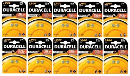 Duracell 10DULR44-2 - Batterie a bottone AG13 V13GA, 10 confezioni da 2 batterie