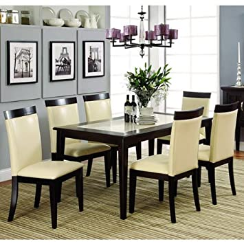 Evious Espresso Finish Faux Marble Top 7-Piece Dining Table Set