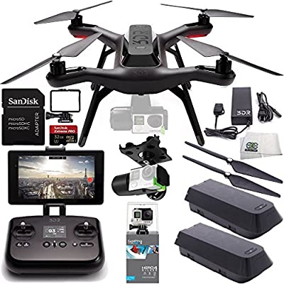3DR Solo Quadcopter with 3-Axis Gimbal for GoPro HERO3+ / HERO4 with Manufacturer Accessories + Extra 3DR Flight Battery + 3DR Propeller Set + GoPro HERO4 Silver + The Frame for HERO3+ / HERO4 + MORE
