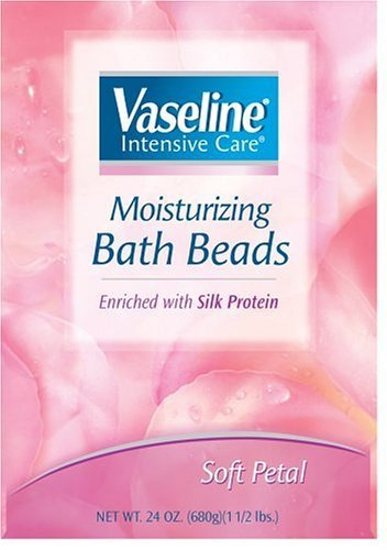 Vaseline Intensive Care Moisturizing Bath Beads Enriched with Silk Protein, Soft Petal, 24 Oz (Pack of 3)