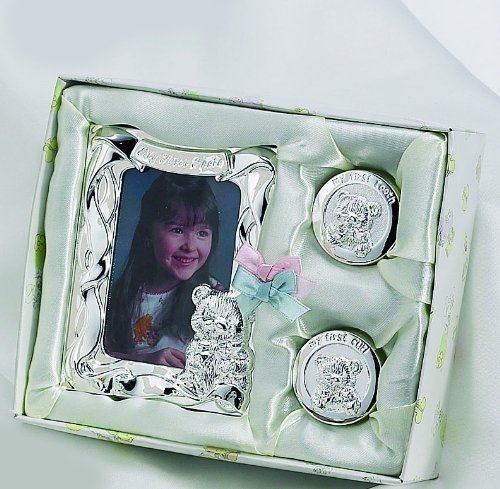Silver Plated Photo Frame tooth Box and Curl Box Gift Set