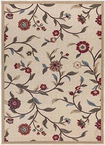 Ottohome Collection Beige Floral Garden Design Modern Area Rug With Non-Skid (Non-Slip) Rubber Backing (2
