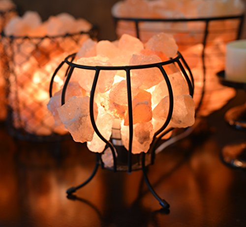 HemingWeigh® Natural Himalayan Metal Cage Lamp Med 8x17cm with Salt Chips, Wood Base, Electric Wire & Bulb