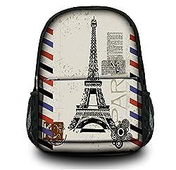 Colorfulbags Paris Eiffel Tower Women Men (boy & girl) Comfortable Rucksack Bookbag Satchel Shoulder Cover Outdoor School Traveling Gym Bag Office Casual Canvas Backpack Bag Washable Case Protector ,holds laptops 13