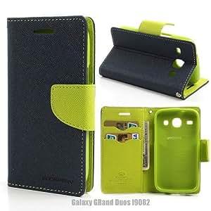BRAND FUSON Mercury Goospery Fancy Diary Wallet Flip Cover for Samsung Galaxy GRAND i9082 -Blue Green