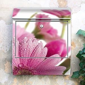 Design Briefkasten 38x42x11 von banjado mit Motiv Rosa Gerbera