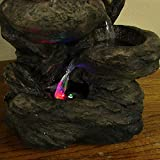 Sunnydaze Staggered Rock Falls Tabletop Fountain with LED Lights, 11 Inch Wide x 13.5 Inch Tall