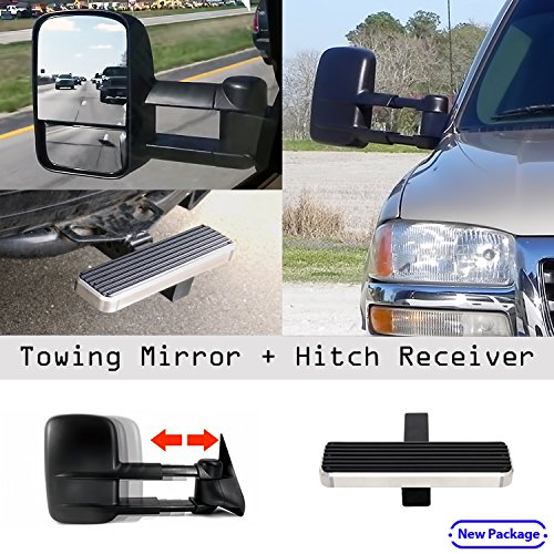 1999-2007 Chevy/GMC Silverado/Sierra Manual & Telescoping Towing Mirror Pair with FREE Hitch step (Silverado Towing Mirrors compare prices)