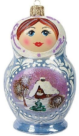 Frosty Matryoshka Nesting Doll Polish Glass Christmas Ornament Made in Poland (Dolls Made Of Glass compare prices)