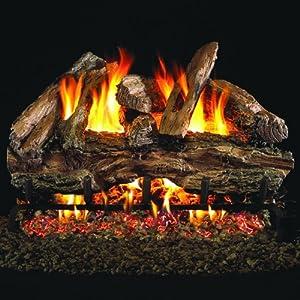 Peterson Real Fyre 24-inch Charred Red Oak Log Set With Vented Natural Gas G45 Burner - Match Light