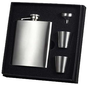 """Visol """"Derek"""" Flask Gift Set, 8-Ounce, Satin Finish"""