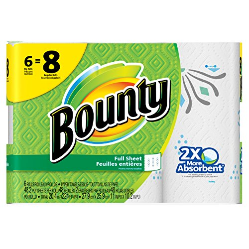 Bounty Paper Towels, Prints, 6 Big Rolls by Bounty