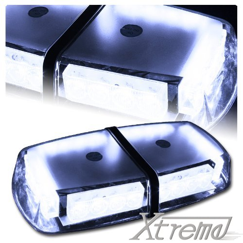 Xtreme® White High Wattage Law Enforcement Emergency Hazard Warning Led Mini Bar Roof Top Strobe Light With Magnetic Base