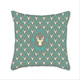 Cotton Linen Throw Pillow, Decorative Pillows.? Oh Deer (White) Cotton Linen Square Decorative Throw Pillow Case Cushion Cover 18 x 18 Inch