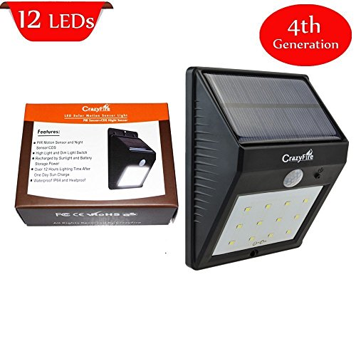 Solar LED Motion Sensor Light,CrazyFire 12 LED Solar Lights Outdoor Solar Garden Path Light Wall Mount Light with PIR Motion Sensor and DIM Funtion for Patio, Deck, Yard, Garden, Driveway, Outside Wall Mount (1 Pack) (Patio Motion Sensor compare prices)