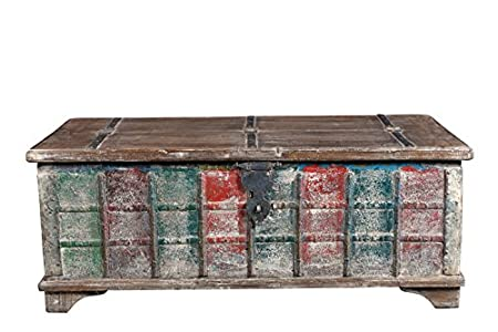 Reclaimed Wood Shabby Chic Coffee Table Low multi-coloured India Luxury Park