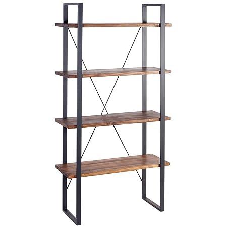 Indhouse-Scaffale loft stile industriale per decorazione vintage in metallo e legno Ray