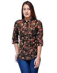 Kiosha Brown Roll-up Sleeve Checkered Shirts for Women
