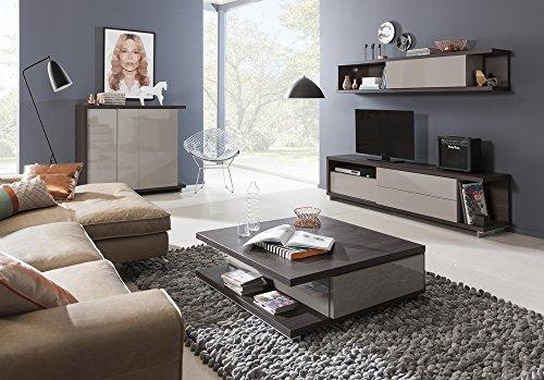 Soggiorno componibile completo color rovere nobile e grigio laccato