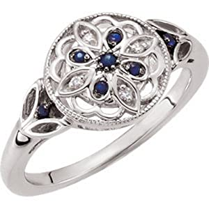 IceCarats Designer Jewelry Sterling Silver Blue Sapphire And Diamond Fashion Ringsize 8