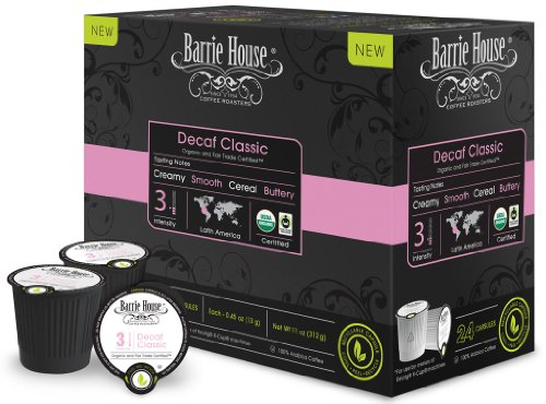 Barrie House Organic & Fair Trade Certified Decaf Classic Single Cup Capsules (24 Capsules)