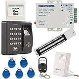 UHPPOTE アクセス制御セット 指紋認証/RFID EM IDカード セット アクセス制御システム セット アクセスコントロール キット 電源 電気錠 NCモード Fail Safe マグネチックロック リモコン バイオメトリック キーパッド キーボード セット UHPPOTE Biometric Fingerprint RFID EM-ID Card Stand-alone Access Control Kit W/ 280KG 600lbs Force Magnetic Lock