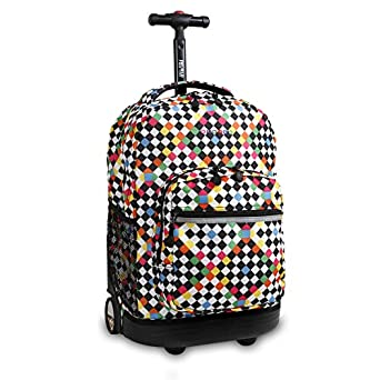 J World New York Sunrise Rolling Backpack, Checkers, One Size