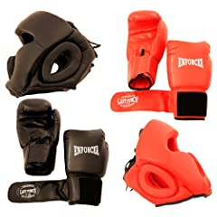Buy 2 Pairs Pro Boxing Gloves & Pro Head Gears Pro Quality by Lastworld