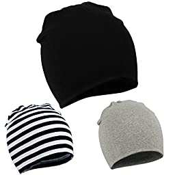 Zando Toddler Infant Baby Newborn Cotton Soft Cute Knit Kids Hat Beanies Cap A 3 Pack-Mix Color2