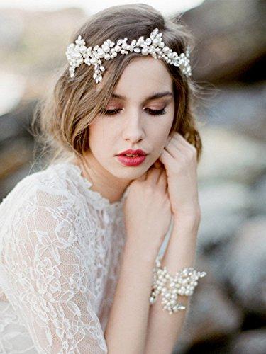 Venusvi Bridal Headpiece with Bead and Rhinestones - Wedding Hair Accessories
