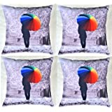 MeSleep Digital Print Man Walking In Woods With A Umbrella 4 Piece Cushion Cover Set - Multicolor