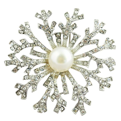Crystal Pearl Brooch,Snow Pearl Brooch - 12-13mm White Fresh Water Pearl Brooch With Crystal Inlay Alloy (BR0011)