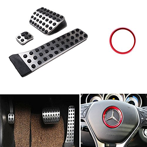FICBOX Fuel Brake Foot Rest No Drill Stainless Steel Pedal Non-Slip Rubber + Steering Wheel Center Decoration Ring Cover for Mercedes Benz C E S GLK SLK CLS Sl Class (Mercedes Benz Ring compare prices)