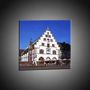 Kunstdruck Münsterplatz, Kornhaus, Brunnen, Freiburg in 120x120 cm