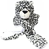 Kids/Childs LEOPARD WHITE Plush Winter Hat - Incs attached Scarf & Mitts (All in One)