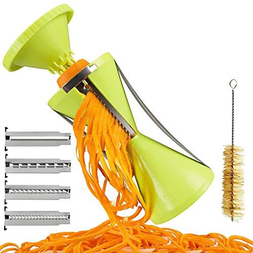 Brieftons NextGen Spiralizer: 4-Blade Vegetable Spiral Slicer, 150% Bigger, 50% Less Wastage, Perfect Veggie Spaghetti/Pasta Maker (Wheat Cutting Machine compare prices)