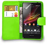 MOBILE JOY Nokia Lumia 635 Leather Wallet Flip Case Cover Pouch + 2 x Screen Protector & Polishing Cloth ( Green )