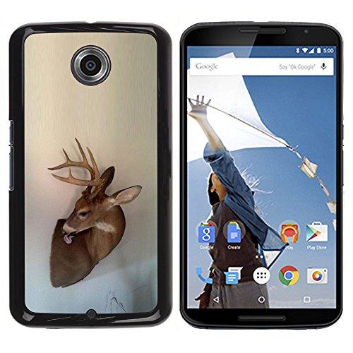 Antlers Beige Natura Primavera animale - Aluminum Metal & plastica dura Phone caso - nero - NEXUS 6 / X / Moto X Pro