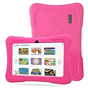 "Dragon Touch 7"" Quad Core Android Kids Tablet, with Wifi and Camera and Games, HD Kids Edition w/ Zoodles Pre-Installed (2015 Model, Y88X with Pink Silicone Case)"