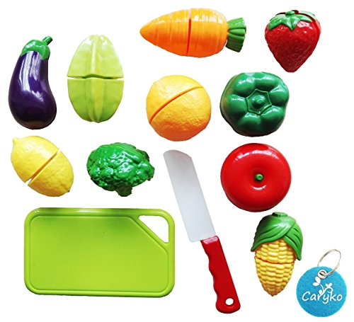 Carykon Fruit & Vegetable Cutting Food Set Toy for Toddlers Kids, Set of 12