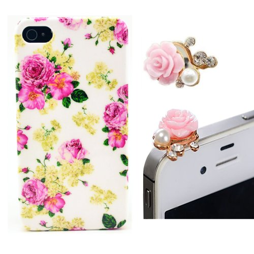 Vandot Phone Mobile Accessory 2In1 For Apple Iphone4 4S 1X Flower Hard Back Cover Case Peony Skin Shell + 1X Metal Flower Camellia Diamond Pearl Anti Dust Plug Earphone Jack Cap Rhinestone Lady Woman - White Pink Romantic Rose